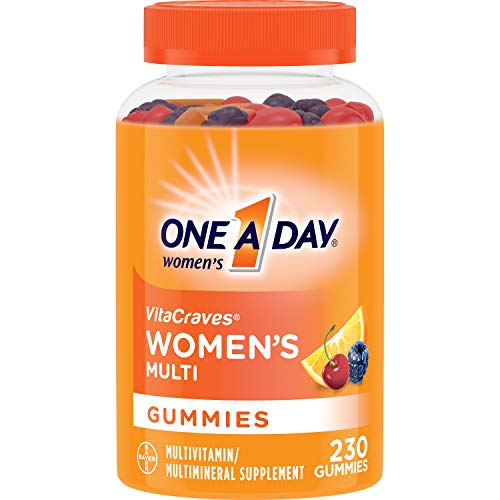 One A Day Womens VitaCraves Multivitamin Gummies, Supplement with Vitamin A, Vitamin C, Vitamin D, Vitamin E and Zinc for Immune Health Support*, Calcium & More, 230 Count