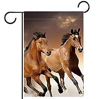 ガーデンフラッグ縦型両面 12x18inch 庭の屋外装飾.クールな茶色の馬
