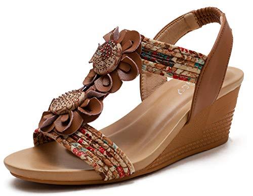 HYISHION Mujer Sandalias de Cuña Zapatos de Verano Moda Casual Cómodas Sandalias,Marrón,39