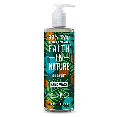 Faith in Nature Natürliche Kokos Flüssigseife, Feuchtigkeitsspendende, Vegan & Ohne Tierversuche, Frei von Parabenen und SLS, 400 ml