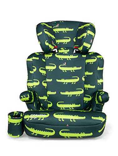 Cosatto Ninja Child Car Seat - Group 2/3, 15-36 Kg, 4-12 Years, High Back Booster, 6 Headrest Positions, Belt Fitted, Crocodile Smiles