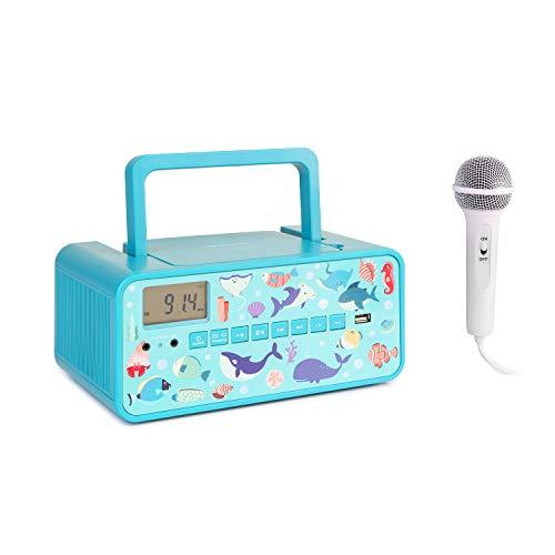 auna Kidsbox – Altavoces con CD, Reproductor de CD, micrófono de Mano, Bluetooth, Puerto USB, Pantalla LCD, Funciona con Corriente y con Pilas, Conector de 3,5 mm para Auriculares, Turquesa