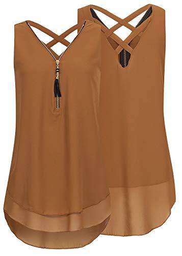 Styleboom Fashion® Damen Shirt Chiffon Top Zipper 2-lagig dunkel braun, Gr:L