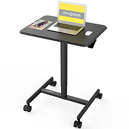 Mobile Sit-Stand Desk Adjustable Height Laptop Desk Cart Ergonomic Table Small Standing Desk with Pneumatic Height Adjustments, Black