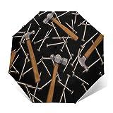 Paraguas Plegable Automático Impermeable Clavos de martillos, Paraguas De Viaje Compacto A Prueba De Viento, Folding Umbrella, Dosel Reforzado, Mango Ergonómico