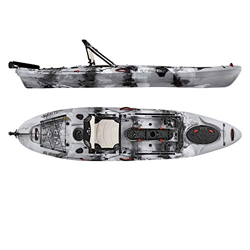 Vibe Kayaks Sea Ghost 110 11 Foot Angler Sit On Top Fishing Kayak with Adjustable Hero Comfort Seat & Transducer Port + Rod Holders + Storage + Rudder System Included (Smoke Camo)