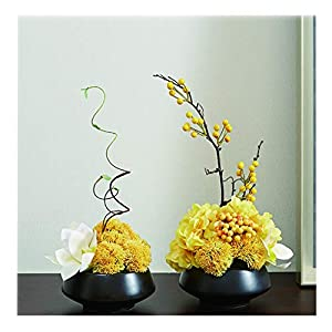 NYKK Decoration Artificial Flower Topaz Bonsai Plant Silk Flower for Living Room Hotel Office Simple Style Fake Flower Bonsai with Vase(Yellow,Pack of 2) Table Centrepieces