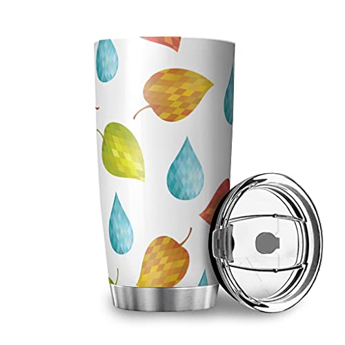 Harneeya Tumbler Colorful Crystal Leaves Stainless Steel Travel Mug Autumn Tumbler Cup for Hot and Cold Drinks 20oz White 20oz