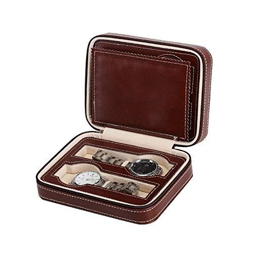 Enrollador de Reloj automático, Caja Caja de presentación de Cuero de PU Portátil 4 Rejillas Caja de Viaje Caja de Almacenamiento con Cremallera Organizador Organizador (Color: Marrón, Tamaño: Talla