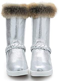 DingXiong Real Fur Snow Boots Women Flat with 2018 Winter Silver Pink Warm  Shoes Outerwear Ladies 6df488d1c08e