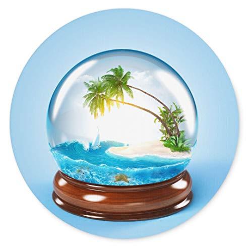 Merchandise for Fans Tropisch eiland in een glazen bol, muismat rond textiel 20 cm, antislip rubberen rug, voor alle muistypes