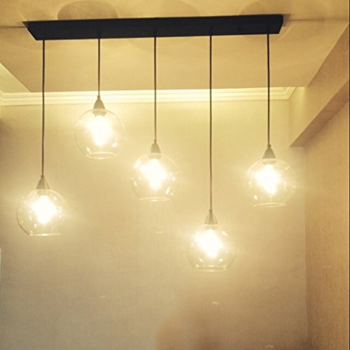 MEGSYL Ball transparant glas plafondlamp, Nordic moderne eenvoudige industriële stijl creatieve kunst kroonluchter, woonkamer restaurant balkon decoratieve verlichting kroonluchter, 3 lichtbronnen ijzeren hanglamp, creatieve geometrische plafondlamp, transparante kleur
