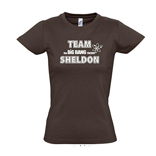 Damen T-Shirt - Team Sheldon, The Big Bang Theory - Fun Kult Shirt S-XXL, Chocolate - weiß, L