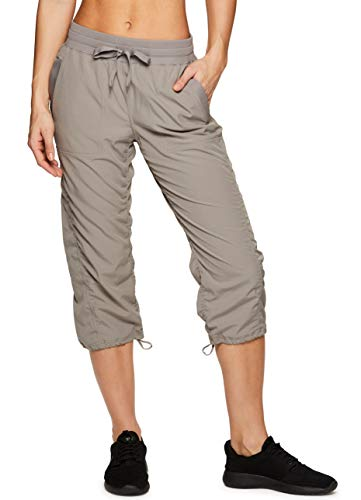 RBX Active Women's Lightweight Body Skimming Drawstring Capri Pant S19 Taupe M