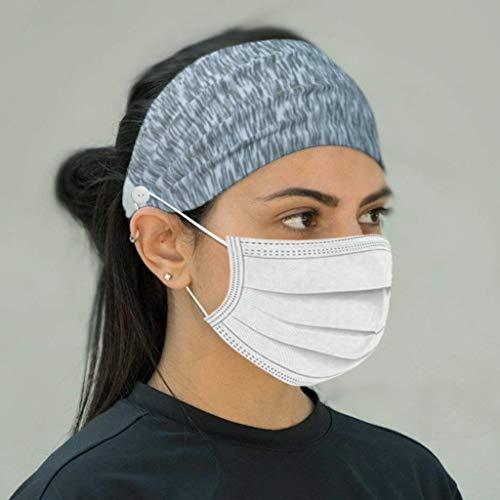 N/X Akaslife Sweatband & Sports Headband for Running, Crossfit, Cycling, Yoga, Basketball - Stretchy Moisture Wicking Unisex Hairband, Muti Funtional Button Headband Protect Your Ears