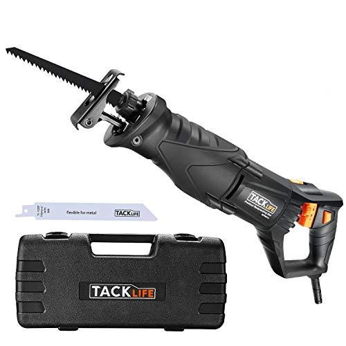 Säbelsäge, TACKLIFE Universalsäge mit LED, 850W & Variabel Geschwindigkeit 0-2800 SPM, Verstellbarem Handgriff, 2 Sägeblätter für Holz & Metall, 3m Kabel, im Koffer