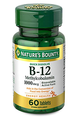 Vitamin B12 by Nature's Bounty, Quick Dissolve Vitamin Supplement, Supports Energy Metabolism and Nervous System Health, 1000mcg, 60 Tablets