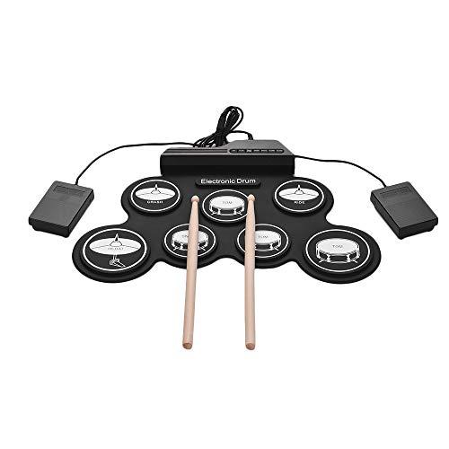 JFJL Elektronisches Schlagzeug,Tragbares Elektronisches Schlagzeug-Pad - Eingebauter Lautsprecher (Gleichstrom) - Digital Roll-Up Touch 7 Beschriftete Pads Und 2 Fußpedale,Urlaub Geschenk Für Kinder