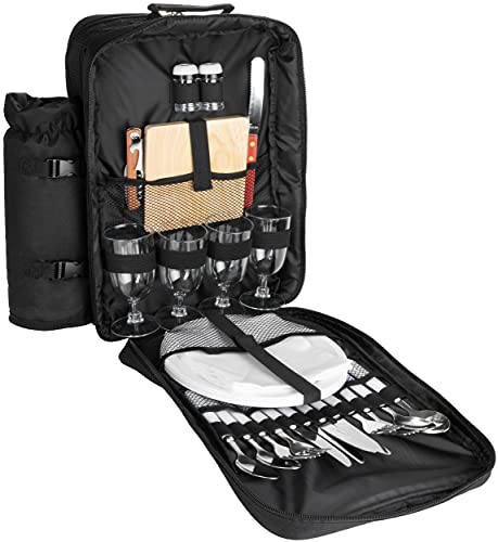 Brubaker Zaino da Picnic per 4 Persone Color Nero 30 × 39 x 21 cm - con Scomparto di Raffreddamento & Portabottiglie Isolato Rimovibile