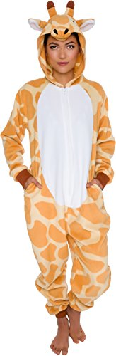 Silver Lilly Slim Fit Animal Pajamas - Adult One Piece Cosplay Giraffe Costume (Orange/White, Medium)