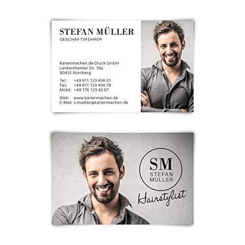 100 x Lasergeschnittene Visitenkarten individuell mit Ihrem Inhalt 300g/qm Papier 85 x 55 mm - Stylist mit eigenem Foto