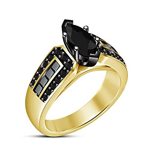 Vorra Fashion Classic Jewelry 14K chapado en oro plata de ley 925Marquise Forma Redonda Corte CZ anillo de compromiso