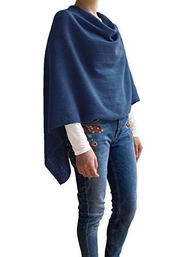 Poncho de cachemir para mujer, chal de novia, con botones, de punto, pashmina, portátil, ligero, multisentido, 100% ético, color azul