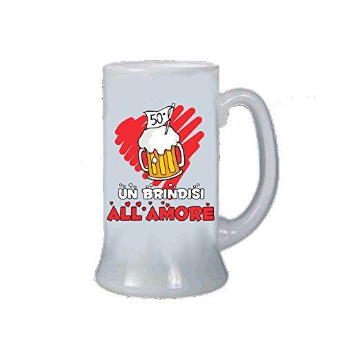 pazza idea Boccale Birra Bicchiere Uomo Donna Scritta 50 Anni Matrimonio Anniversario