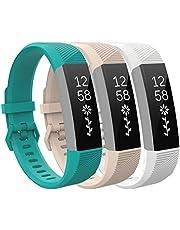 TiMOVO Band kompatybilny z Fitbit Alta HR, [3-pak] miękki silikonowy regulowany pasek zastępczy pasuje do Fitbit Alta/Alta HR/Ace dla dzieci, duży rozmiar - cyjan i jasnoróżowy i biały
