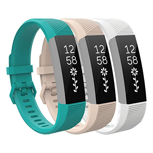 TiMOVO Band Compatible with Fitbit Alta HR, [3-PACK] Soft Silicone Adjustable Replacement Band Fit Fitbit Alta/Alta HR/Ace for Kids, Large Size - Cyan & Light Pink & White