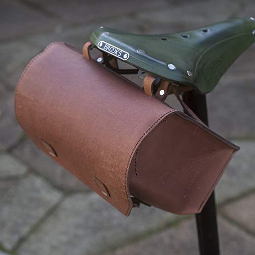 Super grande de piel bolsa de bicicleta sillín/manillar/marco bicicleta bolsa (marrón antiguo)...