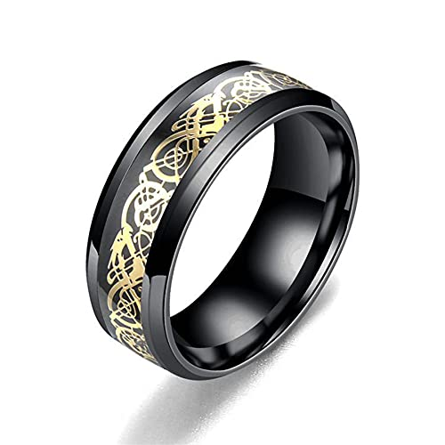 Men Ring Jewelry Dragon Inlay Comfort Fit Stainless Steel Rings For Men...