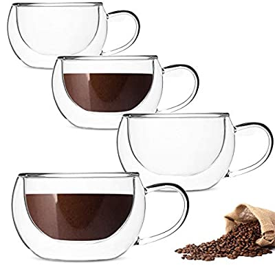 DeeCoo Double Wall Cappuccino Glass Mugs 9oz, Clear Coffee Mug Set of 4 Espresso Mug Cups,Double Wall Insulated Glass Mug with Handles (Latte Glasses,Tea)