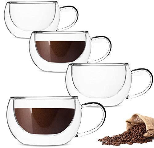 DeeCoo Double Wall Cappuccino Glass Mugs 8.5oz, Clear Coffee Mug Set of 4 Espresso Mug Cups,Double Wall Insulated Glass Mug with Handles (Latte Glasses,Tea)