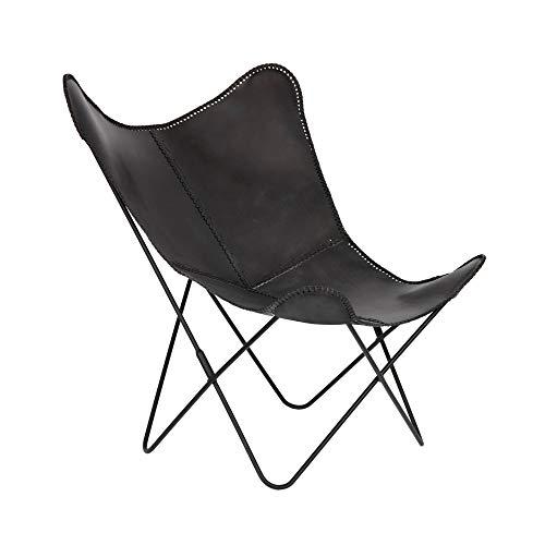 Kave Home Fly - Sillón de piel, color negro