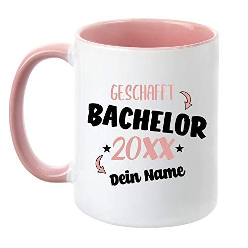 TassenTicker - Tasse zum Bachelor 20XX - Personalisiert - Prüfung bestanden - Abschlussfeier - Geschenkidee - Rosa