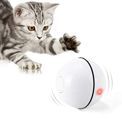 Interactive Cat Toys Ball with LED Light,360 Degree Self Rotating Ball,USB Rechargeable Cat Ball Toy,Stimulate Hunting Instinct Kitten Funny Chaser Roller Pet Toy (White)