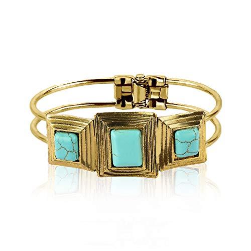 MiniJewelry Brazalete de turquesa chapado en oro, pulsera vintage regalo para mujeres y niñas cumpleaños