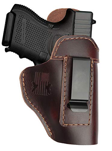 Leather Holster for Glock 17 19 23 27 32 43 - M&P Shield SD40/SD9 - Taurus G2C G3C - Ruger LC9 LC380 - Springfield XDS - Sig p229 / Plus Similar Size IWB Right Hand