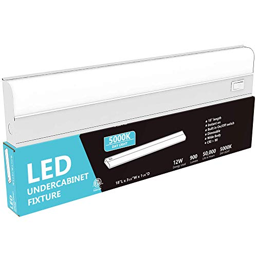 """Hardwired LED Under Cabinet Task Lighting - 12 Watt, 18"""", Dimmable, CRI>90, 5000K (Day Light), Wide Body, Long Lasting Metal Base with Frost Lens' /></a></td> <td class="""