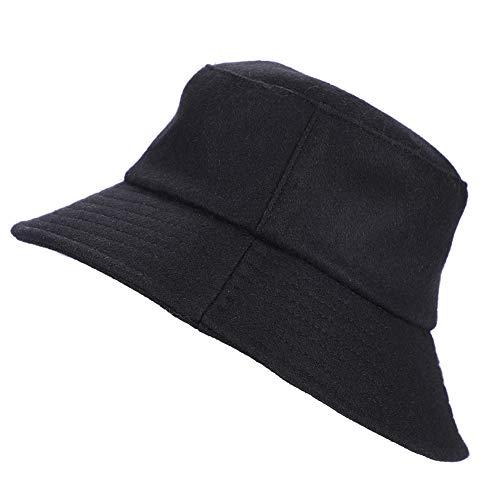 Sombrero de pescador de lana para mujer, de invierno, de fieltro, cálido, de lana, para invierno, clásico, de un solo color, talla única, elegante, para viajes al aire libre
