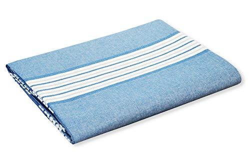 R.P. Sprei Miros Righe Marine Style Tinto uit katoen natuur 100% Made in Italy - bed Frans type Ikea - blauw