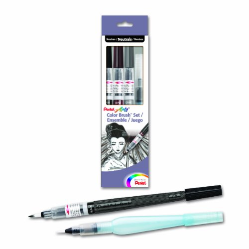 Pentel Arts Color Water Brush Box Set, Black/Gray/Sepia/Aquash (GFLFRHBP)