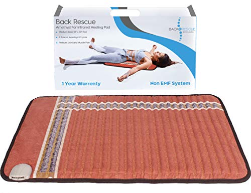 Back Rescue Amethyst Far Infrared Heating Pad, Fast Effective Pain Relief, no EMF, 1 Year Warranty, FDA, Half Body Size, Digital Control and Shut Off, 10 lbs Amethyst Stones, Carry Bag