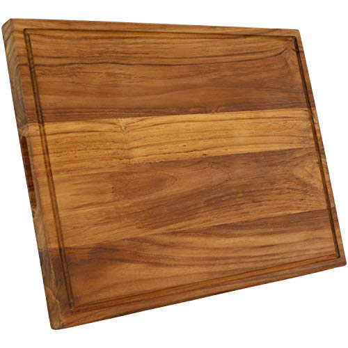 Sunnydaze Premium Reversible Teak Wooden Cutting Board with Juice Groove and Inset Hand Grips - Meat, Poultry, Vegetable and Fruit Cutting, Chopping or Carving Block Tray - 20-Inch