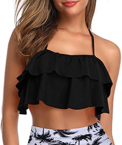 Tempt Me Women Ruffled Halter Bikini Top Backless Flounce Falbala Padded Swimsuit Top Black product image