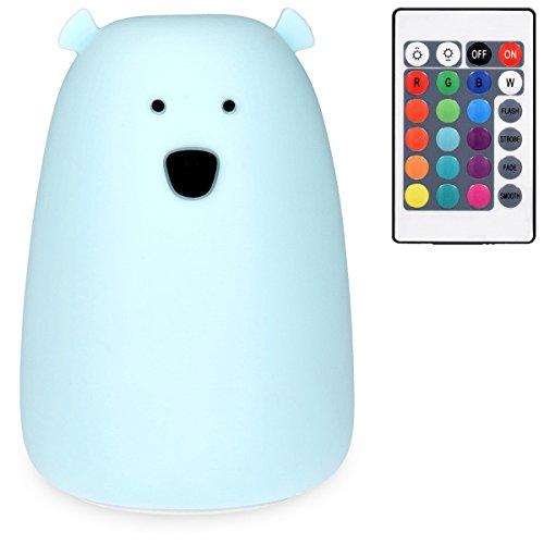 Navaris LED Nachtlicht Bär Design - Fernbedienung Micro USB Kabel - Süße RGB Farbwechsel Kinder Nachttischlampe - Eisbär Schlummerlicht...