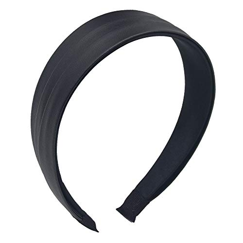MHDGG Headband for Women Wrinkled Faux Leather HeadbandPU Wide Turban Headband Hair Band for Women Headbands Black Wide Hair Hoops HeadwearBlack