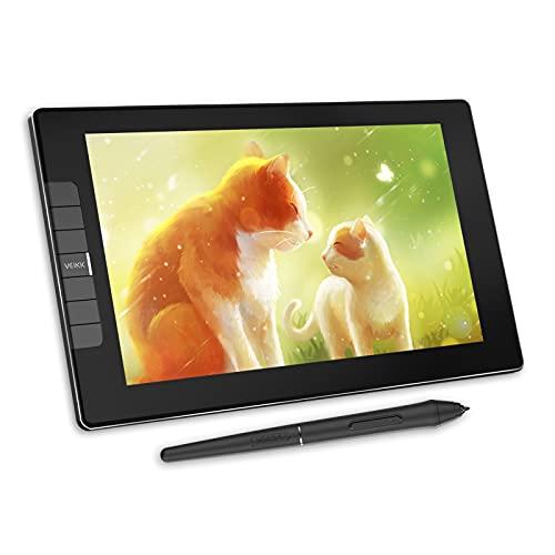 VEIKK VK1200 - Tablet grafico con schermo HD IPS, pennino passivo, inclinazione di ± 60°, 8192 niveali, 72% NTSC, 6 tasti di corso, compatibile con Mac, Windows