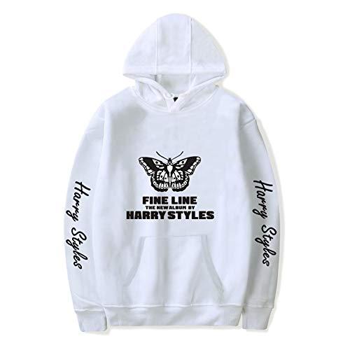 Whittie Harry Style Männer und Frauen Schwarz Pullover Hoodies Kapuzenpullover Top Casual T-Shirt,White,S